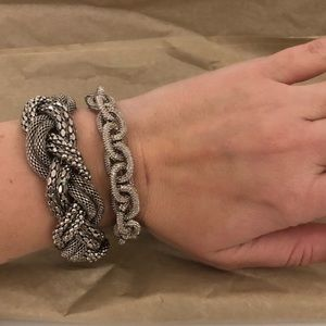 Silver braided bracelet set of 2